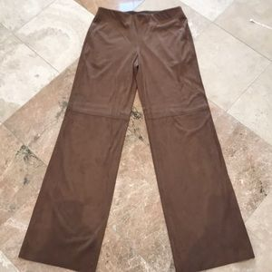 Brown suede wide leg pants